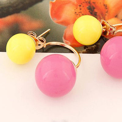 Yellow Candy Round Shape Stud Earring