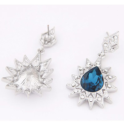 Navy Blue Diamond Waterdrop Shape Stud Earring