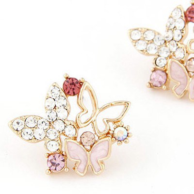 MultiDiamond Butterfly Shape Stud Earring - Click Image to Close