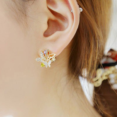 MultiDiamond Butterfly Shape Stud Earring