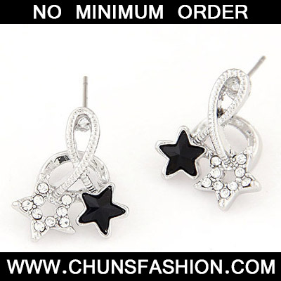 Black Diamond Star Shape Stud Earring