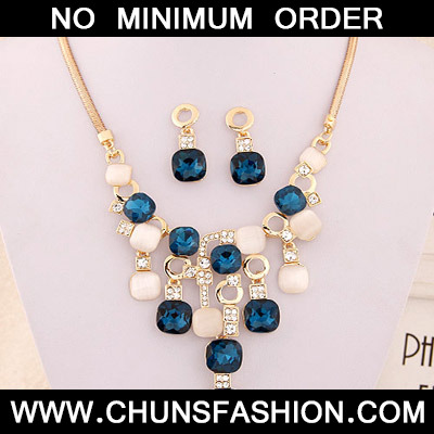 Navy Blue Square Shape Jewelry Set