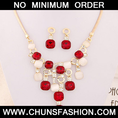 Red Square Shape Jewelry Set