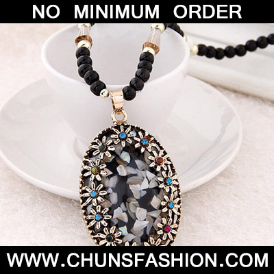 Black Diamond Oval Pendant Necklace