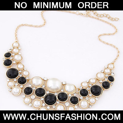 Beige & Black Pearl Multilayer Necklace