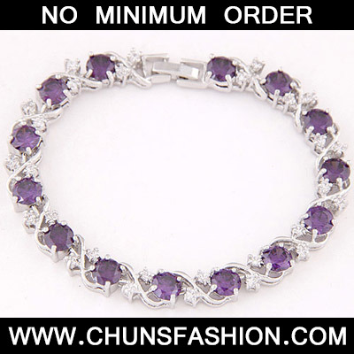 Purple Diamond Zircon Bracelet