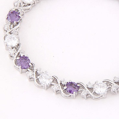 Purple & White Diamond Zircon Bracelet