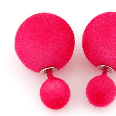 Plum Red Pure Round Shape Stud Earring