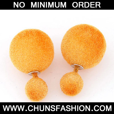 Orange Pure Round Shape Stud Earring