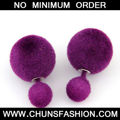 Dark Purple Pure Round Shape Stud Earring