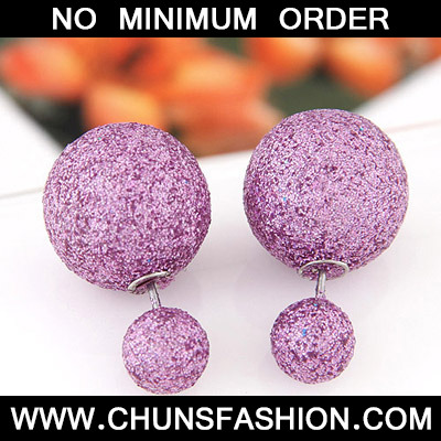 Purple round shape Stud Earring