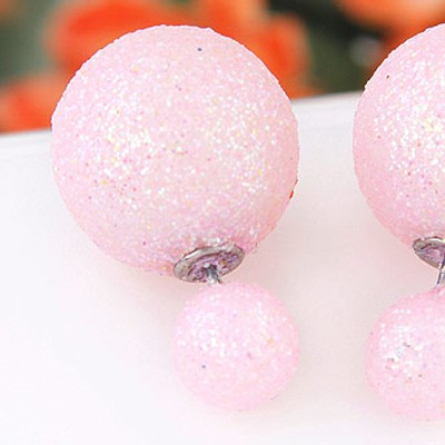Pink round shape Stud Earring