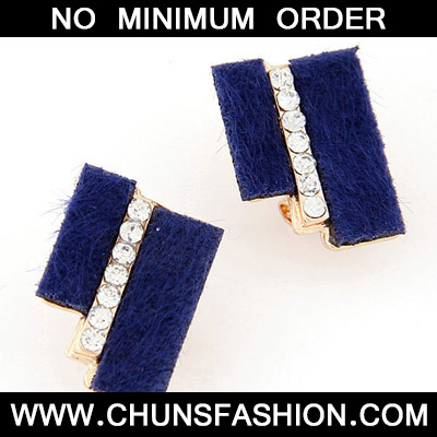 Blue Diamond Geometrical Shape Stud Earring