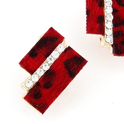 Red Diamond Geometrical Shape Stud Earring