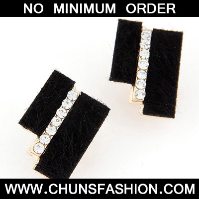 Black Diamond Geometrical Shape Stud Earring