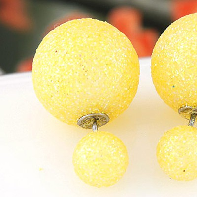 Yellow round shape Stud Earring