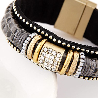 Gray Diamond Double Layer Bracelet