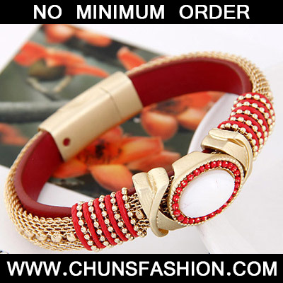 Red Oval Shape Bracele