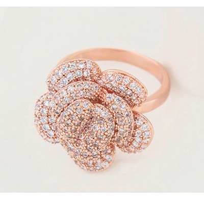 White & Rose Gold Diamond Flower