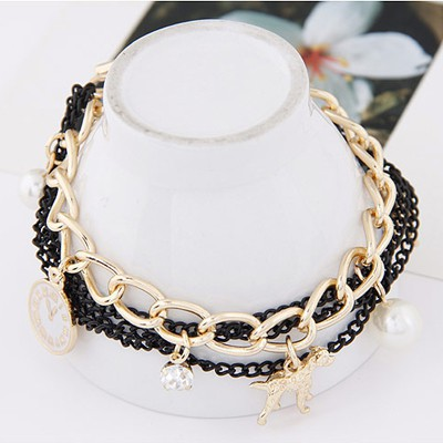 Black & Gold Pearl Multi element Bracele