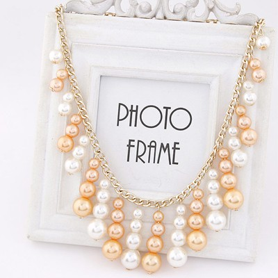 White & Gold Pearl Tassel Necklace