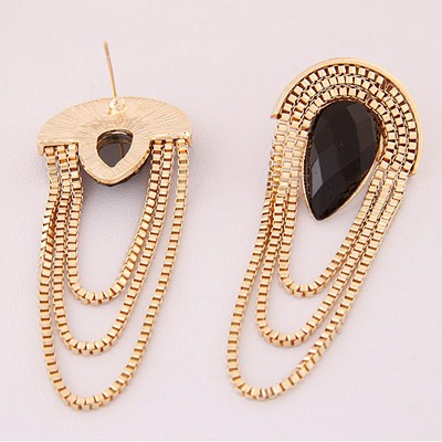 Black Waterdrop Shape Tassel Stud Earring