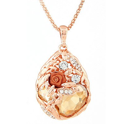 Champagne Diamond Waterdrop Shape Pendant Necklace