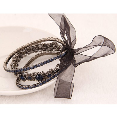 Dark Blue Diamond Bowknot Shape Bracele