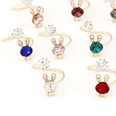 Random Diamond Rabbit Shape Ring