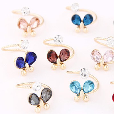 Random Diamond Butterfly Shape Ring