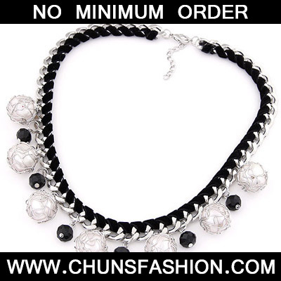 Black & Silver Pearl Weave Necklace