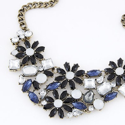 Black & Blue Flower Necklace