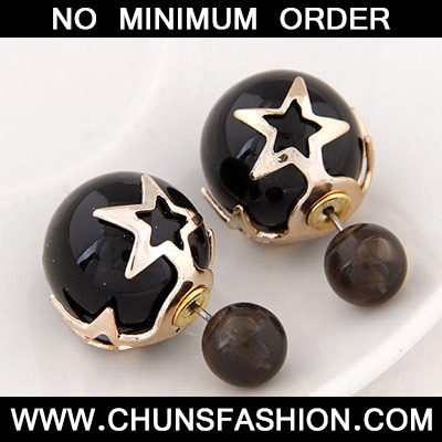 Black Pearl Star Shape Stud Earring