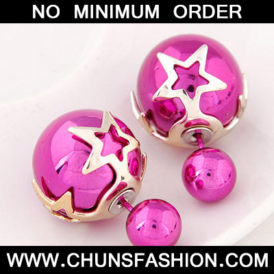 Purple Red Pearl Star Shape Stud Earring