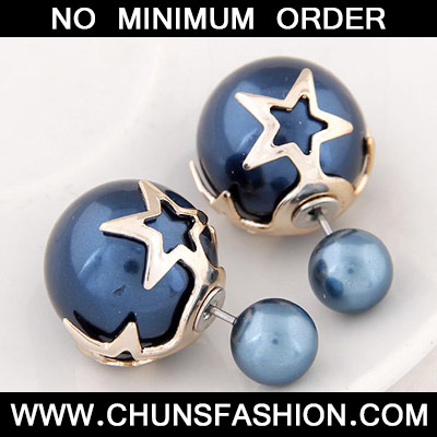 Blue Pearl Star Shape Stud Earring