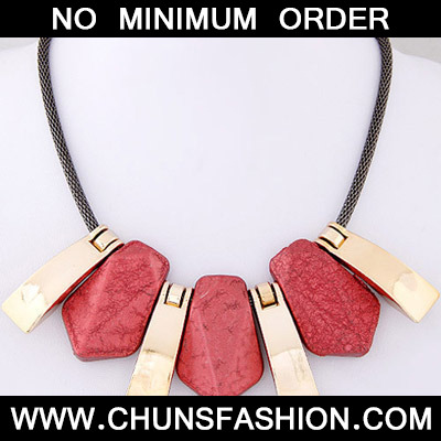 Red Geometrical Shape Necklace