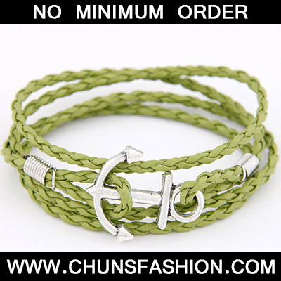 Green Anchor Shape Weave Bracele