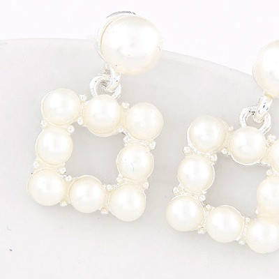White & Silver Pearl Square Shape