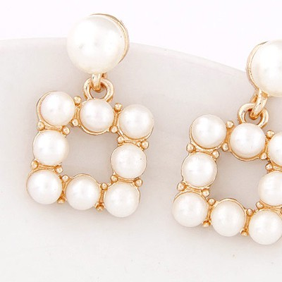 White & Gold Pearl Square Shape