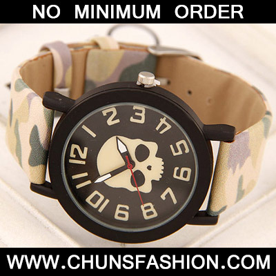 Beige Skull Pattern Ladies Watch