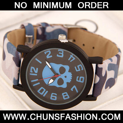 Blue Skull Pattern Ladies Watch