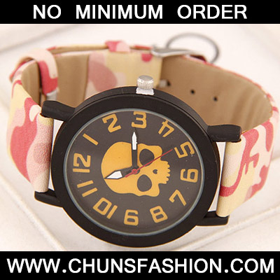 Yellow Skull Pattern Ladies Watch