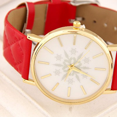 Red Snowflake Pattern Ladies Watch