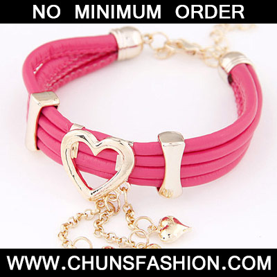 Plum Red Heart Shape Multilayer Bracele