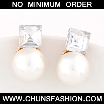White Pearl Square Shape Stud Earring