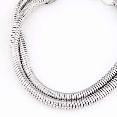 Silver Metal Chain Bracele - Click Image to Close