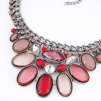 Pink Diamond Oval Shape Necklace