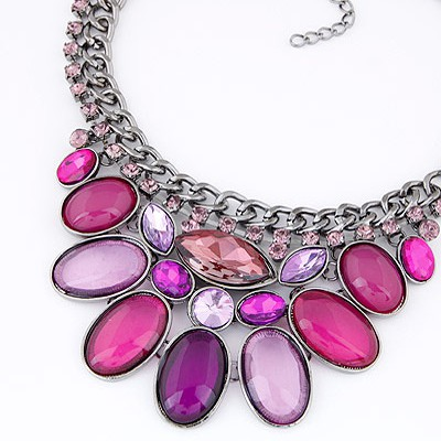 Plum Red Diamond Oval Shape Necklace