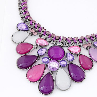 Purple Diamond Waterdrop Shape Necklace