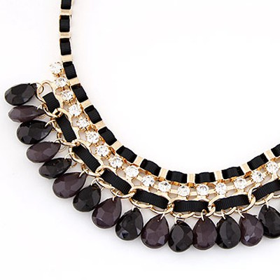 Black Diamond Waterdrop Shape Necklace